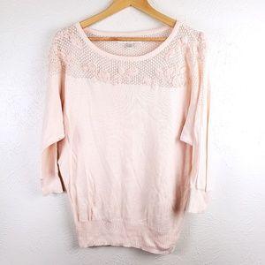 Lauren Conrad  Peach Pearl Floral Pullover Sweater